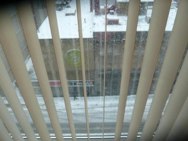 Erste Schneebeobachtung aus dem 7. Stock